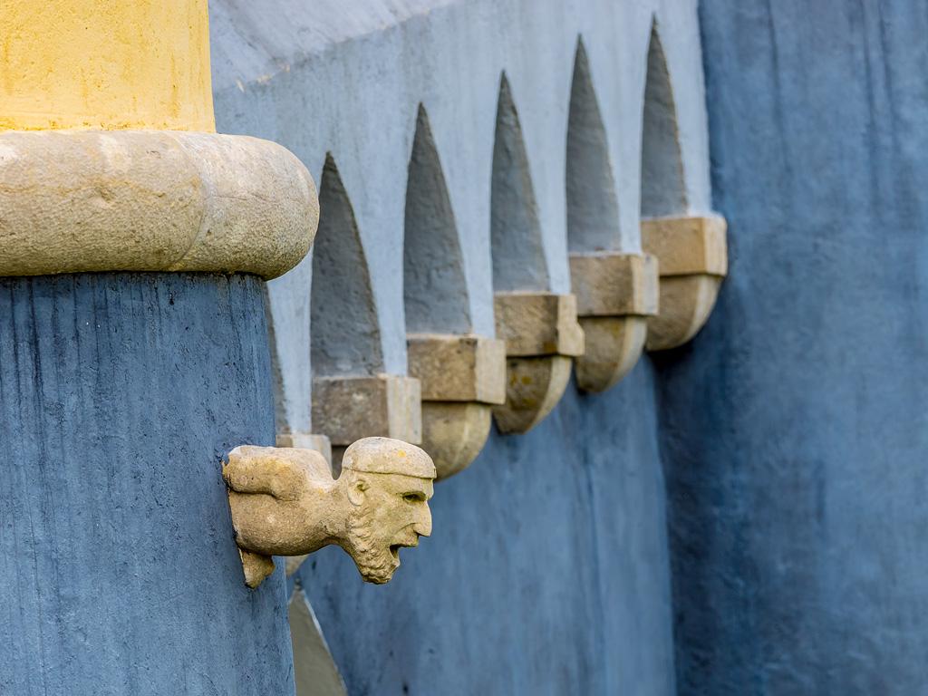 Detalle de cabeza en el muro