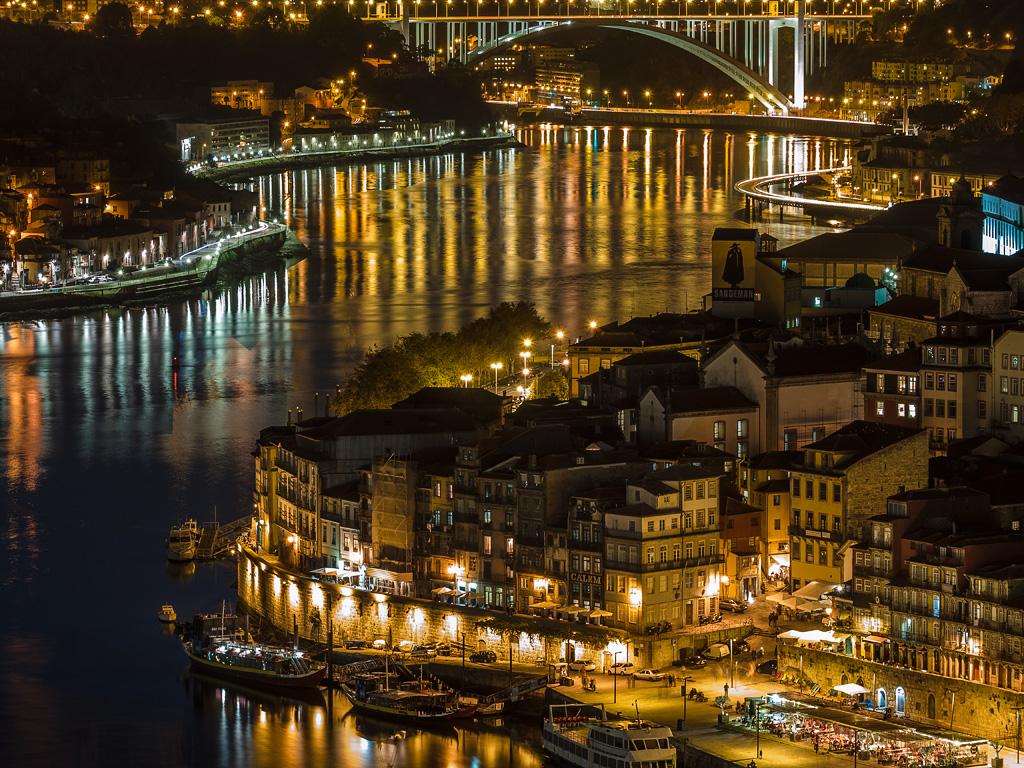 Ribeira District and Arrabida bridge at night, Oporto